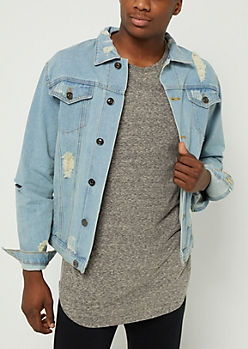 Light Wash Destroyed Denim Jacket