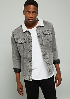 Black Wash Sherpa Collar Jean Jacket