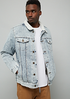 Light Acid Wash Sherpa Collar Jean Jacket