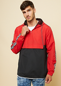Red Checkered Pocket Colorblock Windbreaker