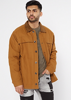 Cognac Flannel Lined Trucker Jacket