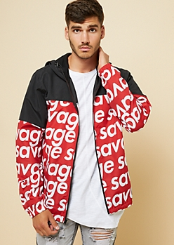 Red Savage Colorblock Hooded Windbreaker