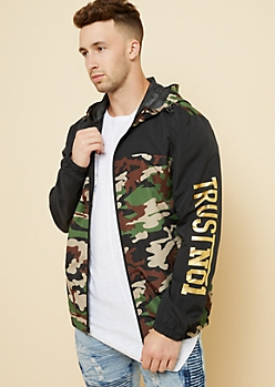 Camo Print Trust No One Sleeve Zip Windbreaker