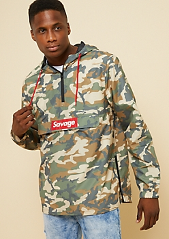 Camo Print Savage Box Hooded Windbreaker