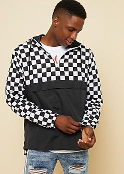 Black Checkered Colorblock Pullover Windbreaker