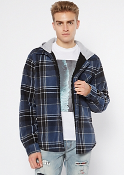 Blue Buffalo Plaid Sherpa Lined Polar Fleece Hooded Jacket