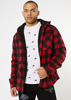 Red Buffalo Plaid Sherpa Lined Polar Fleece Hooded Jacket