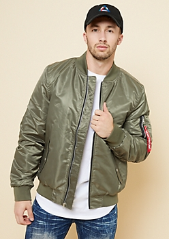 Olive Pocket Sleeve Puffer Bomber Jacket