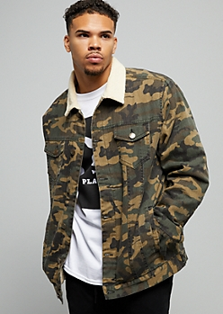 Camo Print Sherpa Collar Denim Jacket