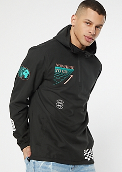 Black Nowhere To Go Hooded Graphic Windbreaker