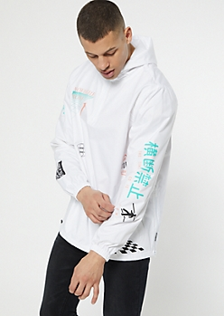 White Nowhere To Go Hooded Graphic Windbreaker