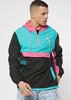 Pink Colorblock Half Zip Graphic Windbreaker