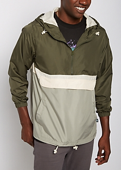 Green Color Split Hooded Windbreaker