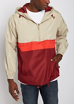 Burgundy Color Split Hooded Windbreaker