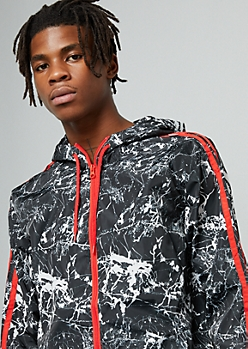 Black Marble Print Side Striped Windbreaker