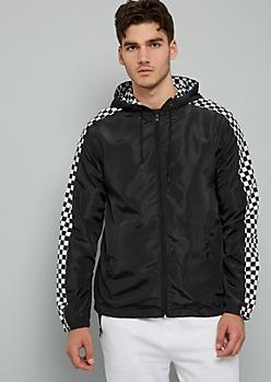 Black Checkered Print Zip Front Hooded Windbreaker
