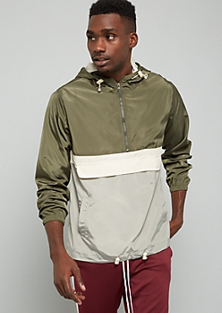 Green Colorblock Half Zip Hooded Windbreaker
