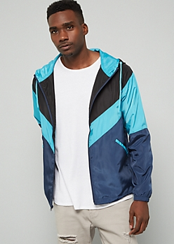 Navy Colorblock Zip Front Hooded Windbreaker