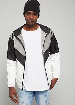 White Colorblock Zip Front Hooded Windbreaker