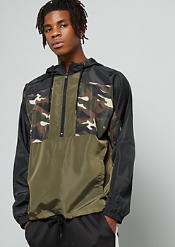 Camo Print Colorblock Half Zip Windbreaker