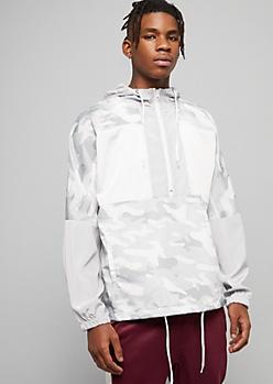White Camo Print Half Zip Hooded Windbreaker