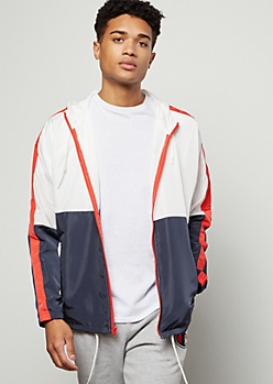 Navy Colorblock Side Striped Zip Front Windbreaker