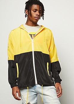 Yellow Colorblock Side Striped Zip Front Windbreaker