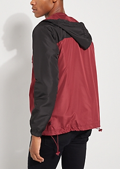 Burgundy Colorblock Hooded Windbreaker