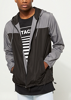 Charcoal Gray Colorblock Hooded Windbreaker
