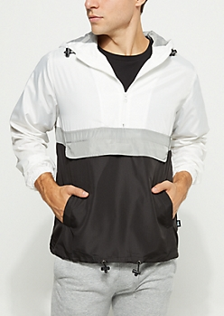 White Colorblock Pullover Windbreaker