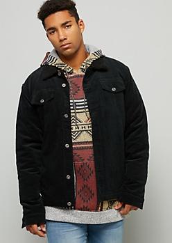 Black Corduroy Sherpa Collar Button Down Jacket