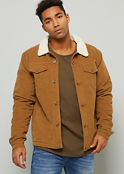 Cognac Corduroy Sherpa Collar Button Down Jacket