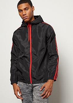 Black Double Side Striped Zip Front Windbreaker