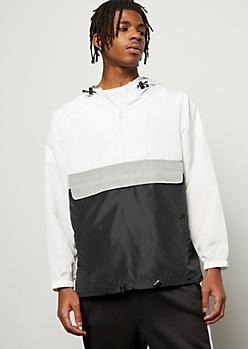 White Colorblock Front Pocket Windbreaker