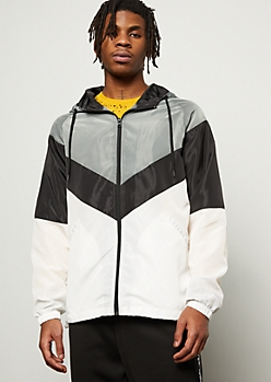 White Chevron Colorblock Zip Front Windbreaker
