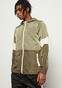 Olive Colorblock Sleeve Zip Front Windbreaker