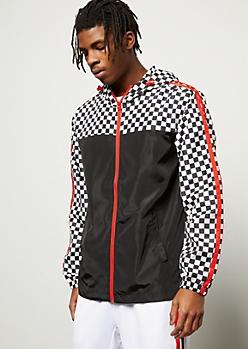 Checkered Print Colorblock Front Zip Windbreaker