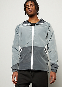 Silver Gray Geometric Colorblock Zip Front Windbreaker