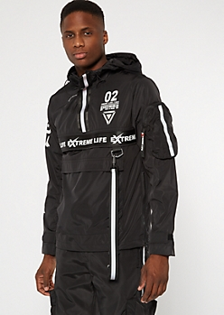 Black Reflective Taped Hooded Windbreaker