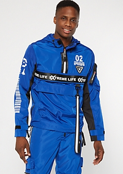 Royal Blue Reflective Taped Hooded Windbreaker