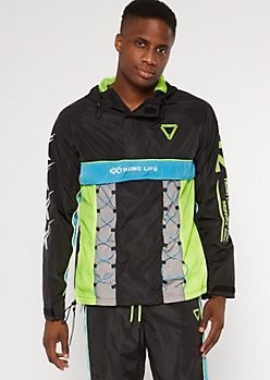 Black Verbiage Bungee Pullover Windbreaker