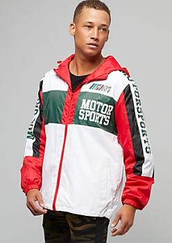 White Colorblock Racing Graphic Hooded Windbreaker