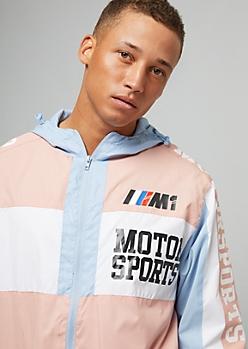 Pink Colorblock Racing Graphic Hooded Windbreaker