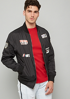 Black Racing Graphic Bomber Jacket