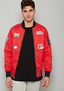 Red Racing Graphic Bomber Jacket