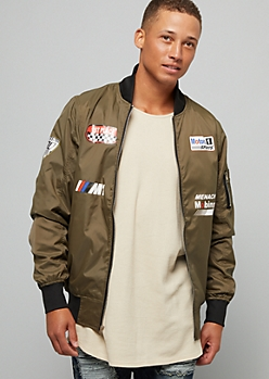 Green Racing Graphic Bomber Jacket