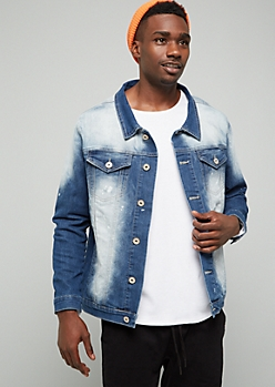 Dark Wash Bleach Splatter Print Jean Jacket