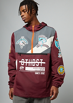 Burgundy Half Zip Patch Hooded Windbreaker