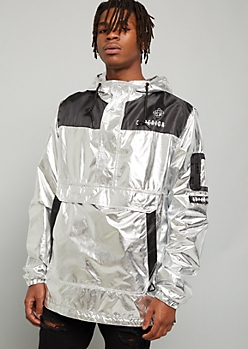 Metallic Silver Superior Half Zip Graphic Windbreaker