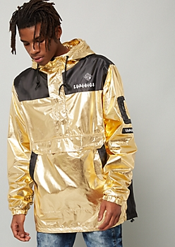 Metallic Gold Superior Half Zip Graphic Windbreaker